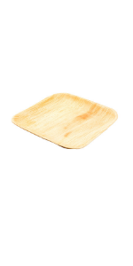 This 6-inch palm leaf plate has a stylish square shape and all natural finish for serving your fare.