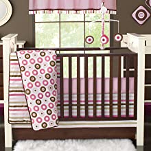 Bacati Mod Dots/Stripes Pink/Chocolate Bedding
