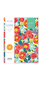 blue sky planners and calendars, day designer floral sketch collection, 2020-21, monthly academic