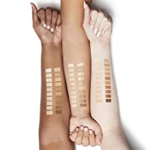 Swatches of Rimmel Stay Matte Pressed Powder on arms of fair, medium and dark-skinned women