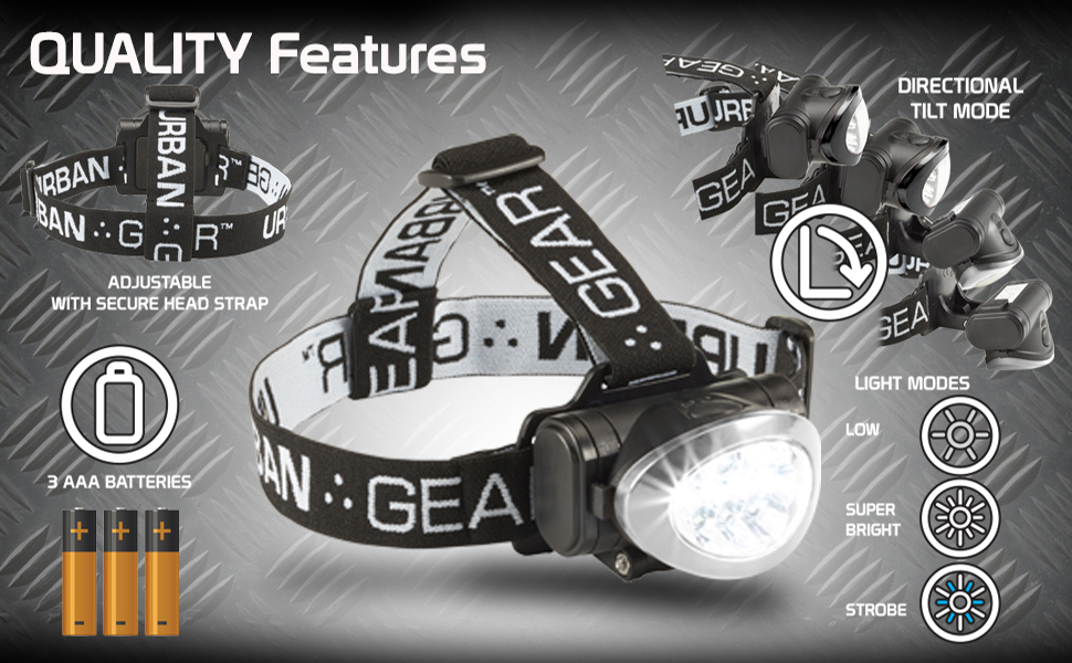 led rechargeable head light headlamps lumens black red silver blue waterproof adjustable night