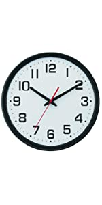 "Wide Profile Wall Clock with Dual Electric/Battery Operation and Daylight Saving Time  13.75"", Black"