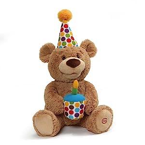 happy birthday bear animated singing moving gund teddy bear 1st birthday first cupcake  plush