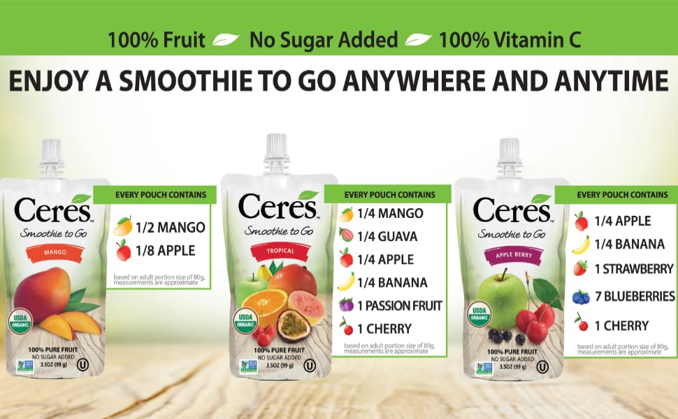 Every pouch Contains Fruit servings blueberries go Vitamin C Mango Apple Guava Banana passion fruit