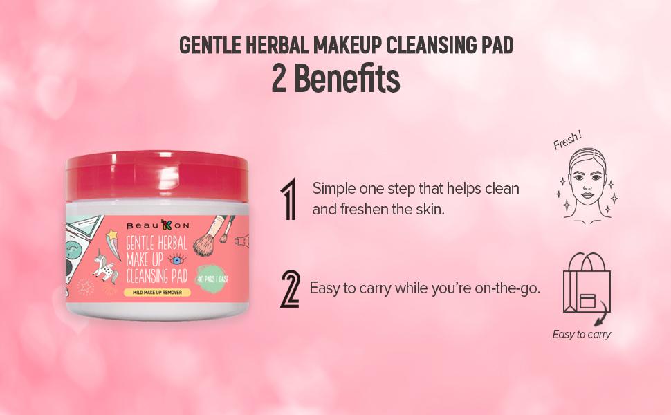 Beaukon Gentle Herbal Makeup Cleansing Pads 3