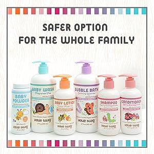 shampoo, bubble bath, baby lotion,baby powder