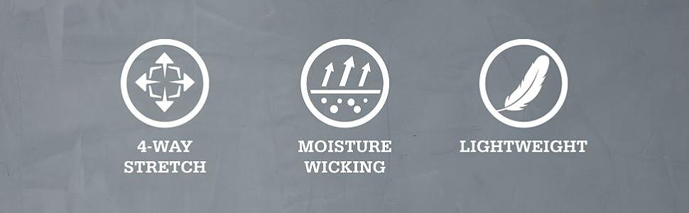 moisture lightweight 4-way stretch