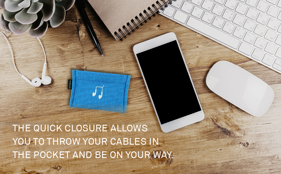 With its spring closure, just squeeze the Pocket to  store your headphones or chargers in a snap.