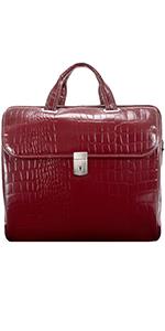 "Red 15"" Leather Medium Ladies Laptop Briefcase"