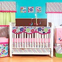 Girls 10 pc Crib Bedding Set with Crib Rail Guard
