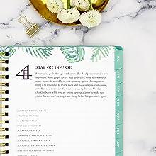 blue sky planner, the day designer system, close up of step 4, palm leaf design, calming green color