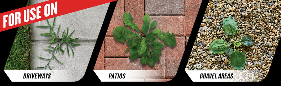 For Use On: Driveways - Patios - Gravel Areas