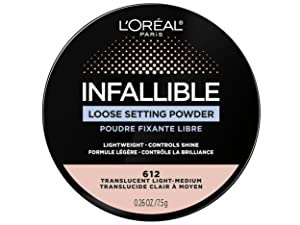 infallible loose setting face powder, makeup setting powder, tinted setting powder