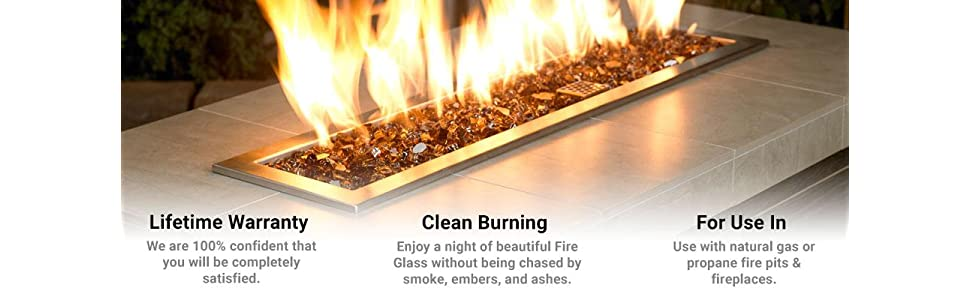 American Fireglass 10-Pound Fire Glass with Fireplace Glass and Fire Pit Glass 1/2 Inch