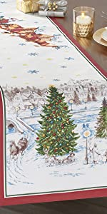 Elrene Home Fashions Santa's Snowy Sleighride Red and Green Table Runner