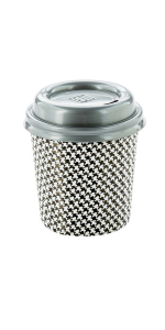 These espresso paper cups have a houndstooth design and built-in insulation to serve hot espressos.