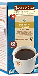 Teeccino Dandelion Turmeric Herbal Tea is a healthy dessert tea that's caffeine free and acid free