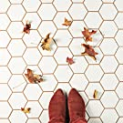 somertile, tile, white, orange, hexagon, hex, mosaic, porcelain, matte