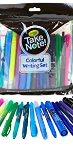 take note, crayola, pen set, highlighter set, school supplies, teacher supplies, office supplies
