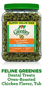 Feline Greenies Dental Treats Oven Roasted Chicken Flavor Cat Treat Tub, Chicken Cat Treats, Healthy