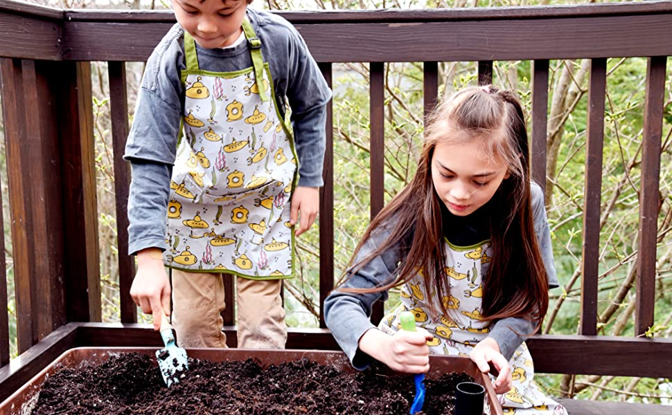 urban infant kids little helper apron submarines digging in garden