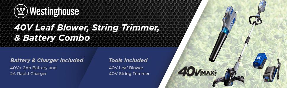 Westinghouse leaf blower tools outdoor power string trimmer 20v 20 v 40v 40 v volt battery charger