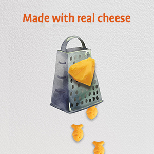 Alt text: Goldfish crackers made with real cheese