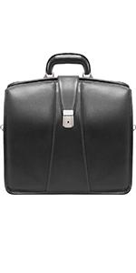 "Black 15"" Leather Partners Laptop Briefcase"