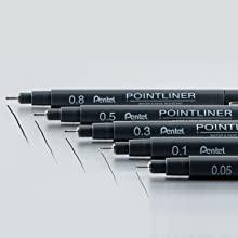 pointliner, ink, pen, art, pentel