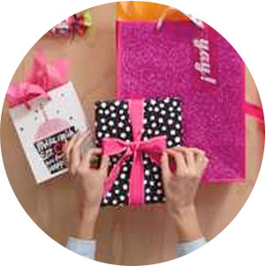 Large pink glitter gift bag and small cupcake gift bag for birthday girls of any age