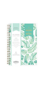 blue sky, day designer, palms collection, academic planner, weekly, monthly, 5x8, leaf design