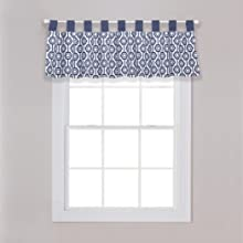 hexagon window valance, navy and white window valance