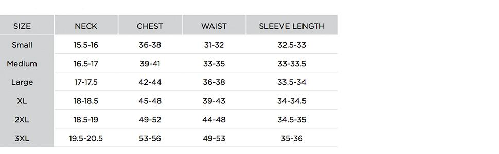Cutter & Buck Men's Regular Size Chart