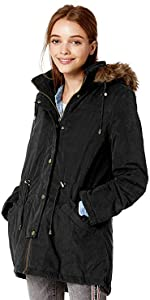 Warm Anorak Jacket with Faux Trimmed Hood