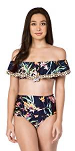 Off shoulder ruffle bikini swimsuit top bathing suit floral stripe paisley dot solid color print