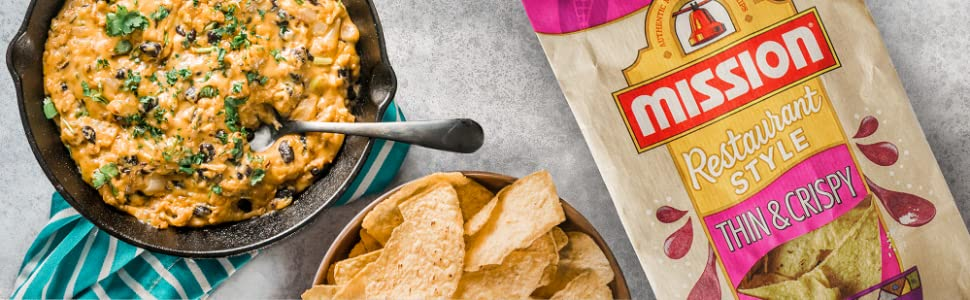 Mission Thin & Crispy Tortilla Chips next to dip