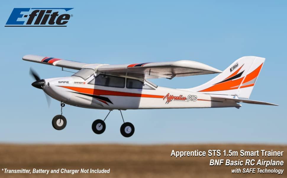 White with orange and blak trim E-flite Apprentice STS 1.5m radio control airplane in flight