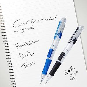 pentel, quick click, advance, side, mechanical, pencil, pencils, clear point, lead, HB, #2