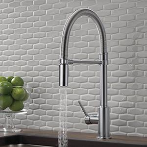 Delta Faucet Trinsic Pro Single Handle Spring Spout Kitchen Sink Faucet With Pull Down Sprayer And Magnetic Docking Spray Head Chrome 9659 Dst