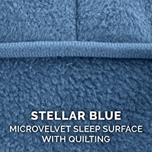 dog bed; sleep; surface; micro; velvet; quilted; stellar blue; water