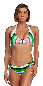 bathing suit for women stripe deco hot chic bralette hardware gold silver metal match bottom halter