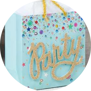 "Aqua gift bag with gold script ""Party"" and colorful sequin accents for birthdays and brides to be"