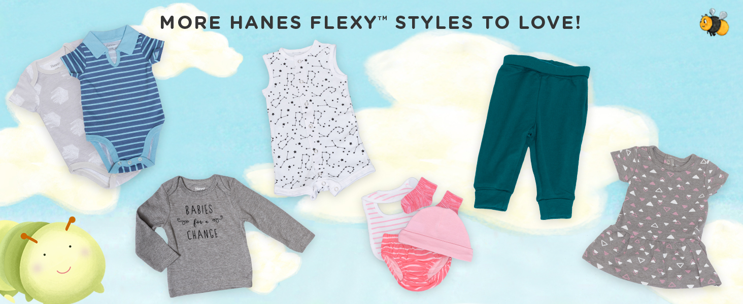 hanes baby; baby clothes; unisex baby clothes; baby bodysuit; baby pants
