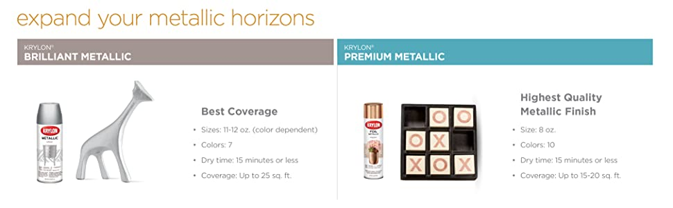Expand your metallic horizons: Krylon Brilliant Metallic and Krylon Premium Metallic spray paints