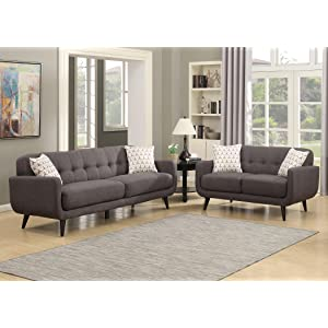 upholstered tufted sofa set with pillows