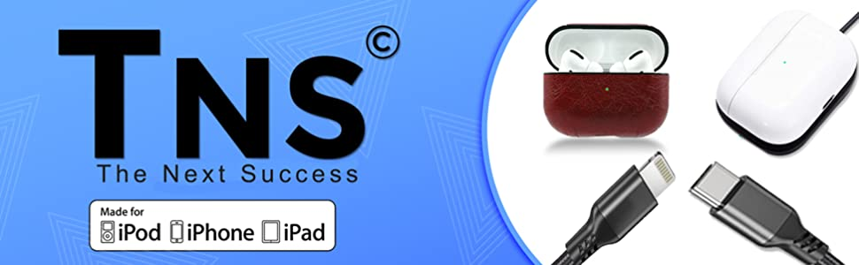 tns the next success airpods lightning mfi apple cable wireless aipod charger leather case 10ft