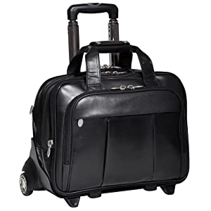 "Black 17"" Leather Patented Detachable -Wheeled Laptop Briefcase"