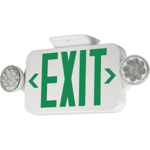 emergency light sign exit sign LED dual head safety green letters business commercial lighting