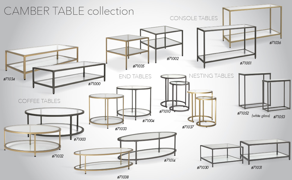 gold living room tables, round coffee table, rectangle coffee table, end table, console table