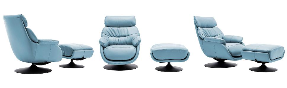 World Source Design Calcutta Rocker Chair With Ottoman, Baby Blue